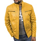 Laverapelle Men's Yellow Genuine Lambskin Leather Jacket - 1501489 - Custom (Color: 16c- Yellow - With Color Cotton Lining, Tamaño: CUSTOM - MADE to MEASURE)