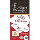 Designer Stencils C568 Script Celebration Cake Stencils Set, Beige/Semi-Transparent