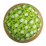 GAMESPFF Round Pin Cushion with Wooden Base and Printed Floral Fabric Coated for Daily Needlework (Green 1) (Color: Green 1)