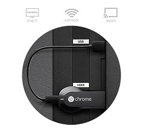 Reproductor de media en línea Google Chromecast con conexión HDMI, reproduce videos de internet en tu TV.