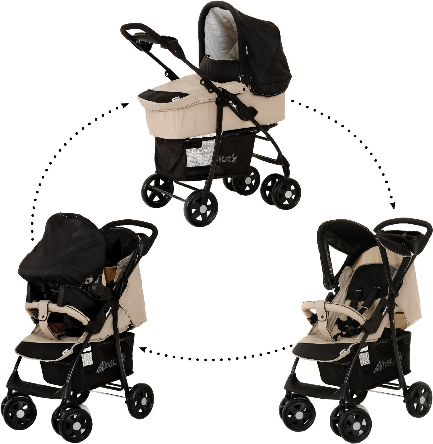 Hauck Shopper Trio Set Almond/Caviar - Stroller, Carrycot and Carseat Adjustable Backrest Shopping Basket Included