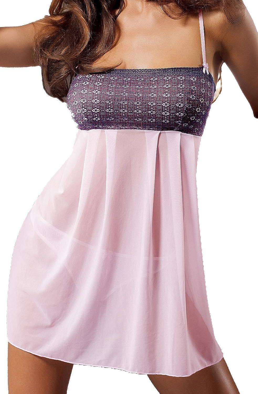 Rosa teiltransparentes Negligee Kleid kurz mit Spitzenmuster und Tüll ausgestellt inklusive String