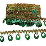 MELADY Pack of 10yards Sequins Pagoda Hanging Bell Tassel Lace Dance Clothing Accessories Fringe Trim (Green) (Color: green)