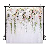 Dudaacvt 10x10FT White Flower Backdrop Curtain Floral 3D Flower Wedding Birthday Party Background Photo Backdrop Carnival Party Backdrop D073 (Color: 10, Tamaño: 10x10ft)