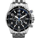 Brandt & Hoffman Pythagoras Chronograph Mens Watch - Black/Grey Dial, Silver Bracelet