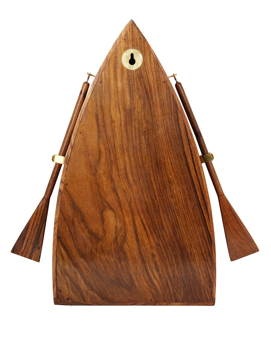 Diwali Gifts Vintage Boat Shaped Key Guard Handmade Sheesham Wood Key Cabinet Organizer 3