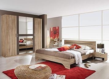 Schlafzimmer komplett , Schlafzimmermöbel, Set, Schlafzimmereinrichtung, 4-teilig, Eiche Sanremo NB, lavagrau