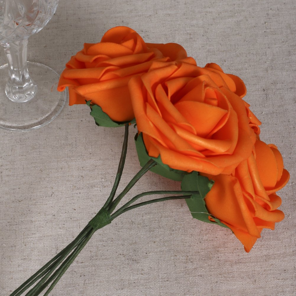 Lings Moment Artificial Flowers Dark Orange Roses 50pcs Real Looking