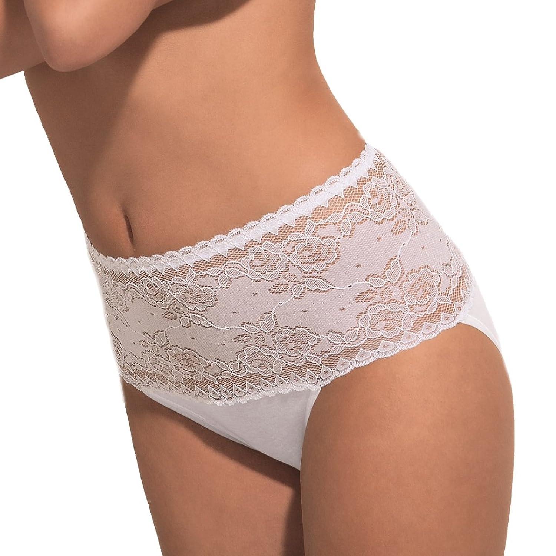 POMPADOUR - Damen Femme 023 - Maxi-Slip mit Spitze - Schwarz oder Weiß 3er Pack