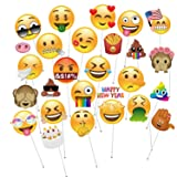 MOT Global Emoji Photo Booth Props - 27 Pieces Emoji Faces Party Kits for Wedding Birthdays Reunions (Diameter Up to 7.87