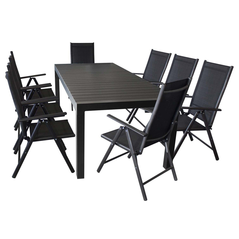 Terrassenmöbel Gartenmöbel Set Sitzgruppe Sitzgarnitur - Aluminium / Polywood Ausziehtisch 224/284/344x100cm, für bis 12 Personen + 8x Hochlehner mit hochwertiger 2x2 Textilenbespannung, 7-fach verstellbar, klappbar