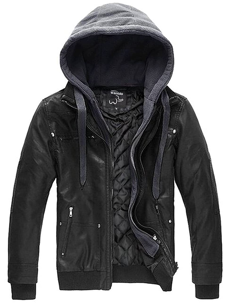 Wantdo Men's Leather Jacket with Removable Hood 0