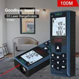 Laser Distance Measure,DTAPE D3 100M Handheld Compact 328FT/100M Laser Distance, Area, Volume Meter Measuring LCD Backlight with Carry Pouch and Battery