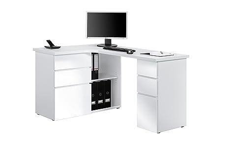 Schreibtisch Computertisch MAJA in verschiedenen Dekoren (Icy Weiß - Weiß Hochglanz)