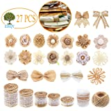 27 PCS Natural Burlap Flowers Set,Include Lace Burlap Ribbon Roll,Handmade Rustic Wedding Burlap Fabric Flowers Bowknot and Nature Jute Twine Ribbon for Crafts Favor Party Decor Home Embellishment