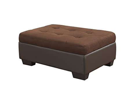 Global Furniture Corduroy Ottoman, Chocolate Brown PVC Finish