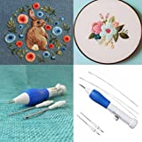 KCPer Magic Embroidery Pen Punch Needles, Embroidery Pen Set, Embroidery Patterns Craft Tool Weaving Tool Fancy (Color: Blue, Tamaño: 13*2cm)
