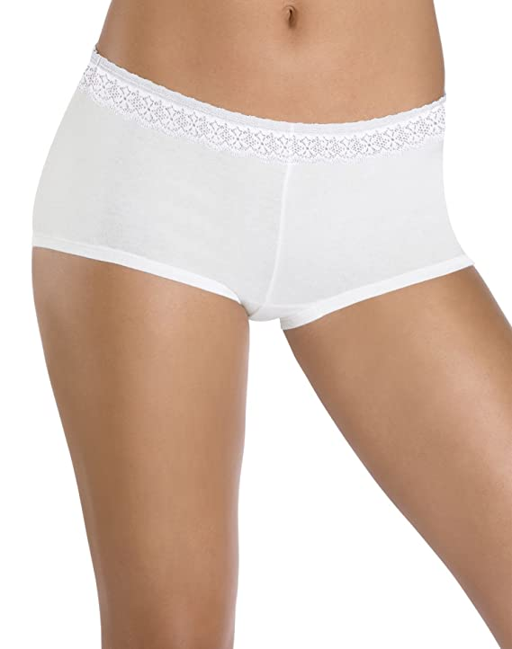 Hanes Women's ComfortSoft Cotton Stretch Boy Brief with Lace Waistband 3-Pack