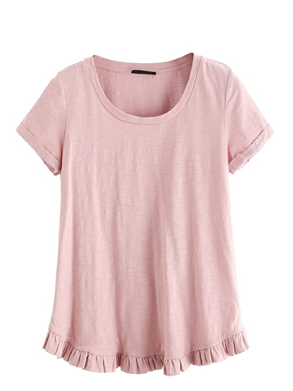 6a7a6482 SheIn Women's Casual Loose Ruffled Hem T-Shirt Tee Small Pink#