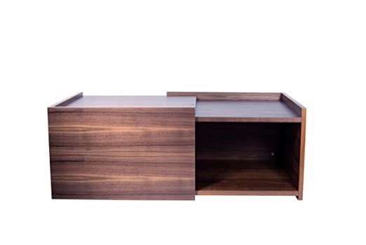 TemaHome Wood Honeycomb Panel Double Coffee Table with Walnut Veneer, 119/ 64 x 64 x 40 cm, Brown