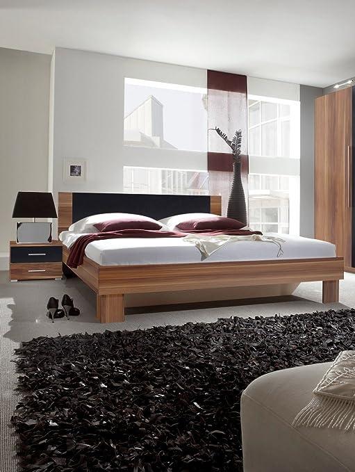 Dreams4Home Doppelbett 'Mika' - Ehebett, Bett 180 x 200 cm, Bett 160 x 200 cm, Jugendbett, Schlafzimmer, Gästezimmer, Jugendzimmer, ohne Matratzen,ohne Lattenrost, in kernnuss / schwarz, Größe:160 x 200 cm