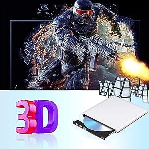 External Blu Ray DVD Drive 3D 4K, USB 3.0 Bluray DVD CD Burner Player CD RW Row Rewriter Portable Compatible for iMac Laptop PC MacBook OS Windows 7 8 10 (Silver) (Color: Silver)
