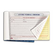 TOPS Avoid Verbal Orders Book, 2-Part, Carbonless, 4.25 x 6.25 Inches, 50 Sheets, White and Canary, (46373)
