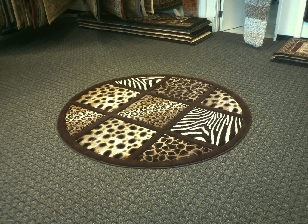 Animal Prints Round Rug 7 Ft. 8 In. X 7 Ft. 8 In. Design # S 251 Chocolate