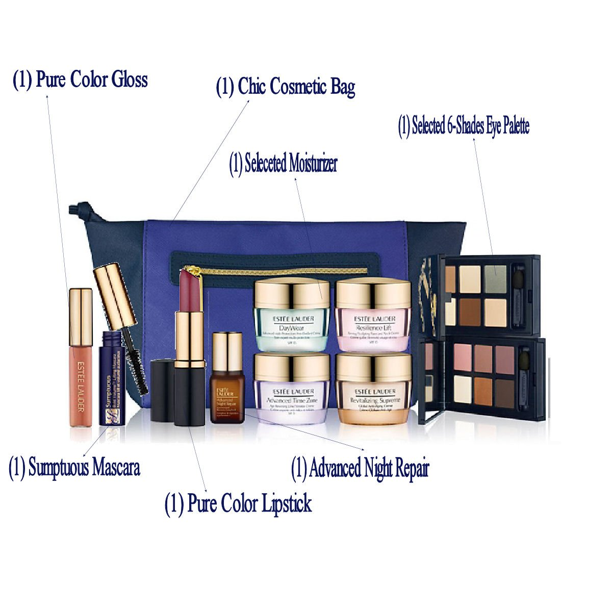 Estee-Lauder-2014-Bloomingdales-7-Pieces-Gift-Set-Advanced-Night-Repair-Cream-6-shade-Eyeshadow-and-More-Plus-Chic-Clutch-Cosmetic-Bag