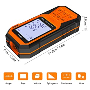 ALLROS Laser Measure 330ft M/In/Ft Digital Laser Distance Meter with Mute Function 2.0 inch Large Backlit LCD Display, Bubble Levels, Measure Distance,Area Volume and Pythagorean, Battery Included (Tamaño: Large)