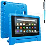 Case Compatible All-New Fire 7 2017 and 2015 with Screen Protector and Stylus, AFUNTA Convertible Handle Stand EVA Protective Case and PET Film Compatible Amazon 7 inch Tablet (7th and 5th Generation) - Blue (Color: Blue, Tamaño: 7 Inch)