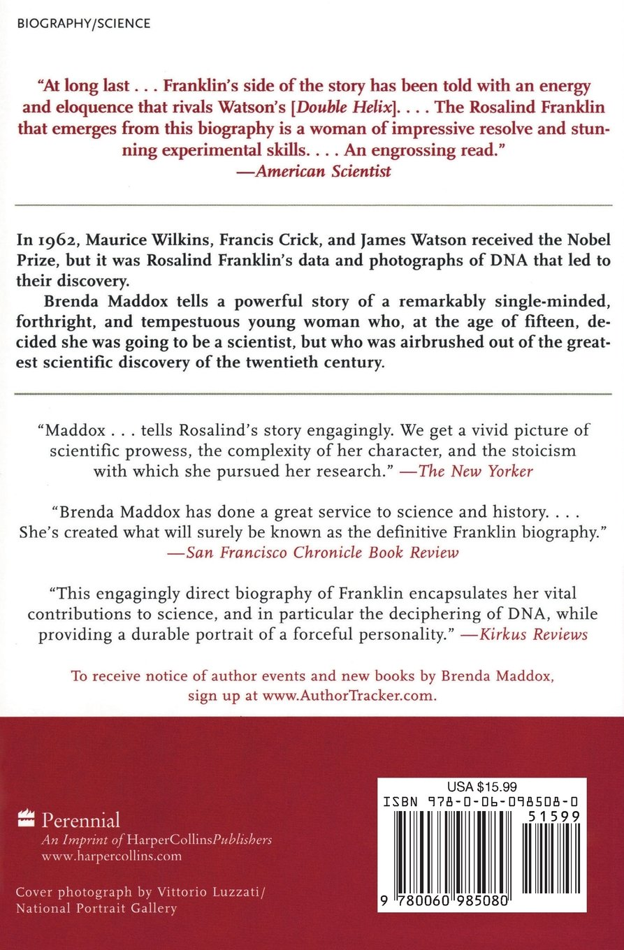 Buy Rosalind Franklin: The Dark Lady Of Dna Book Online At Low Prices In  India  Rosalind Franklin: The Dark Lady Of Dna Reviews & Ratings   Amazon