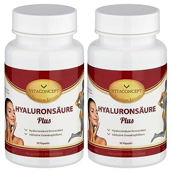 SPAR-PACK - 2x HYALURONSÄURE 150 mg (TD) fermentiert inkl. Granatapfelkern 750 mg - 200 Kapseln (11,95€/Dose) - made in Germany - Gelenke - Haut - Anti-Aging - höchste pharmazeutische Qualität von VITACONCEPT