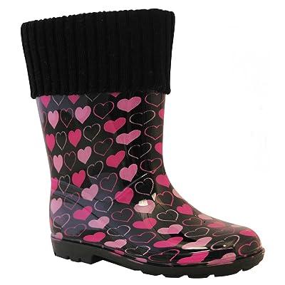 Girls Pink Heart Fleece Lined Wellies