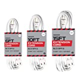 White Extension Cord 3 Pack, 6ft 10ft & 15ft - 16/2 Durable Electrical Cable (Color: White, Tamaño: Multi - 6ft, 10ft, 15ft)