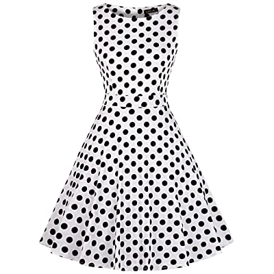 Wall IHOT Vintage 1950s Summer Floral Garden Party Picnic Dress Party Cocktail Dress for Women
