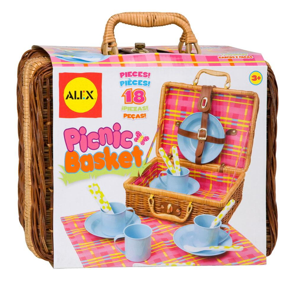 Picnic Basket Dish Set : Piece set includes everything needed for a pretend picnic