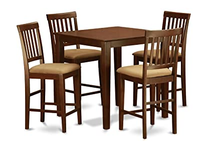 East West Furniture EWVN3-MAH-W 3-Piece Counter Height Table Set