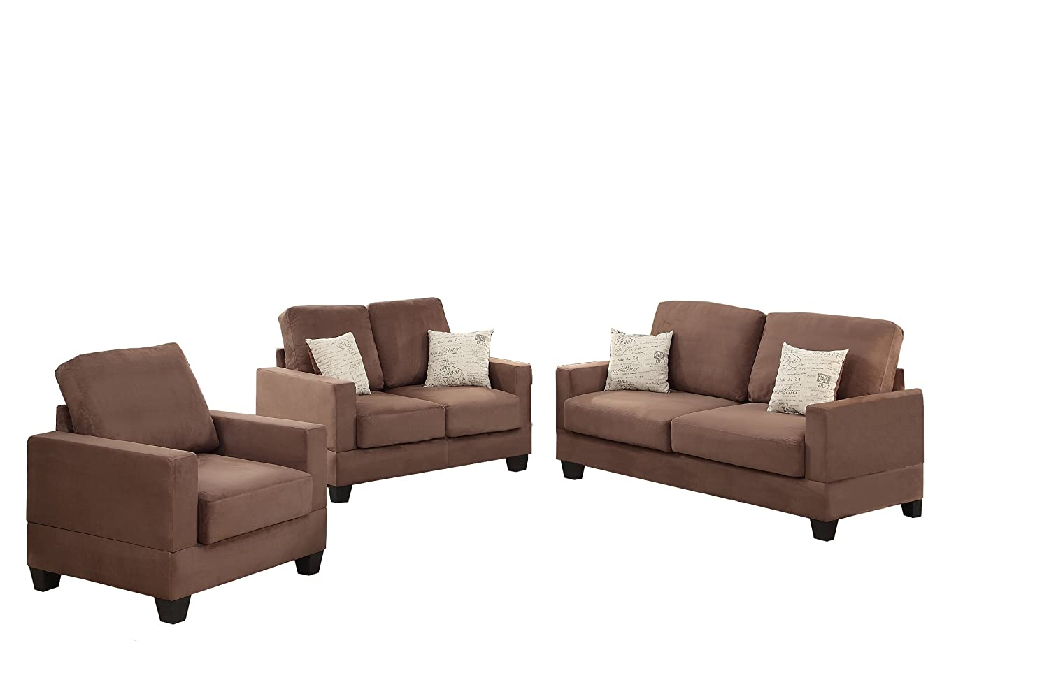 Poundex Bobkona Madison Microsuede 3 Piece Sofa and Loveseat with Chair Set - Peat