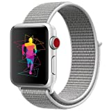 INTENY Sport Band Compatible for Apple Watch 38mm, Breathable Nylon Sport Loop, Strap Compatible for iWatch Series 3, Series 2, Series 1 (Seashell, 38mm) (Color: Seashell, Tamaño: 38 mm)