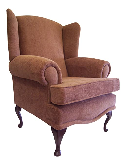 Cottage/Wing Back/ Queen Anne Chair in Brown Basketweave Fabric on QA Legs with brass stud edging
