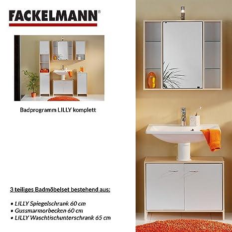 Fackelmann LILLY 3 pezzi Mobile da bagno Set - mobiletto/lavabo/specchio