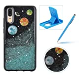 Blue Glitter Case for Huawei P20 Lite,Anti-Scratch Flexible Cover for Huawei P20 Lite,Herzzer Unique Universe Moon Stars Pattern Soft Gel TPU Crystal Bling Shockproof Silicone Rubber Back Case (Color: Design #1, Tamaño: Huawei P20 Lite)