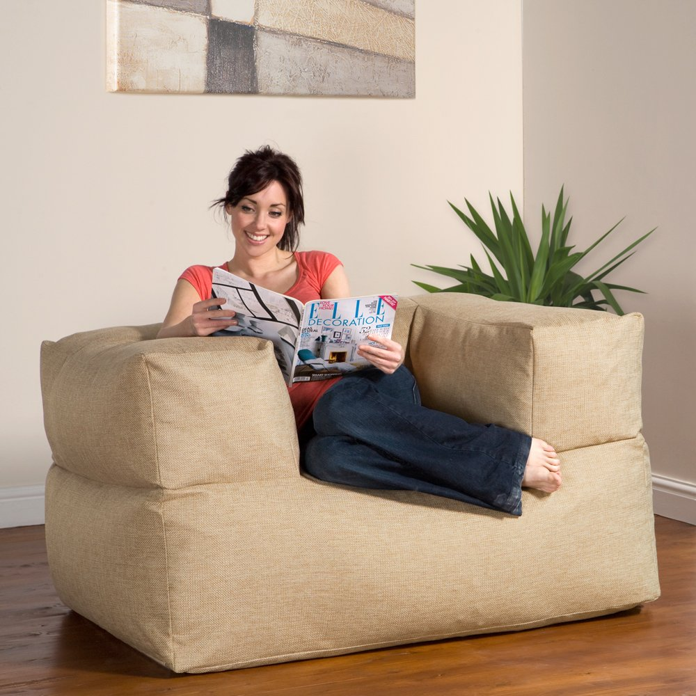 BaZi ® Armchair Sofa Bean Bag in WHEAT Barkweave Fabric       Customer review