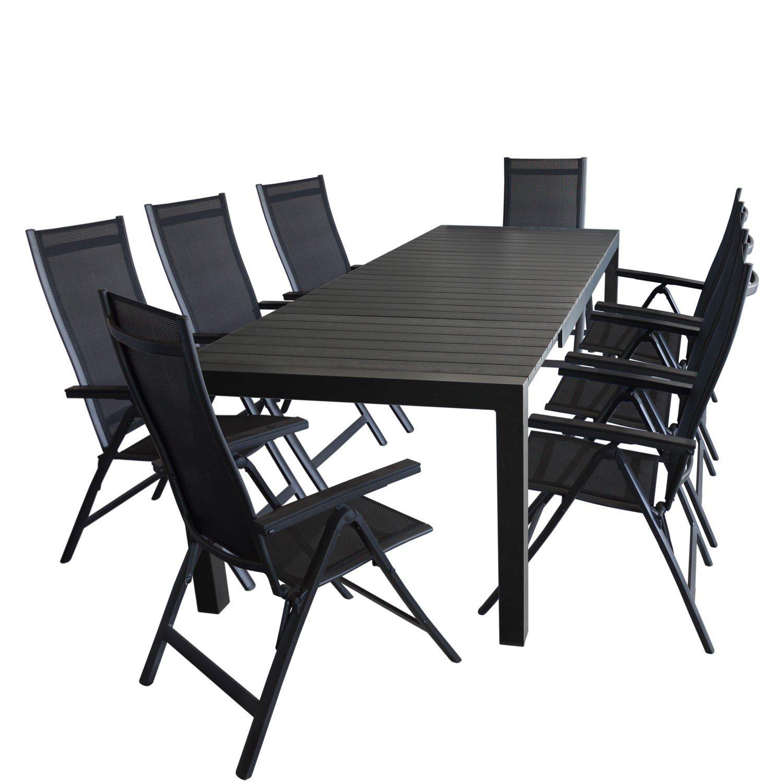 9tlg. Gartengarnitur - Gartentisch ausziehbar 205/275x100cm, Polywood Tischplatte + 8x Aluminium Hochlehner, Lehne 6-fach verstellbar, Textilenbespannung - schwarz / Sitzgarnitur Sitzgruppe Gartenmöbel Terrassenmöbel