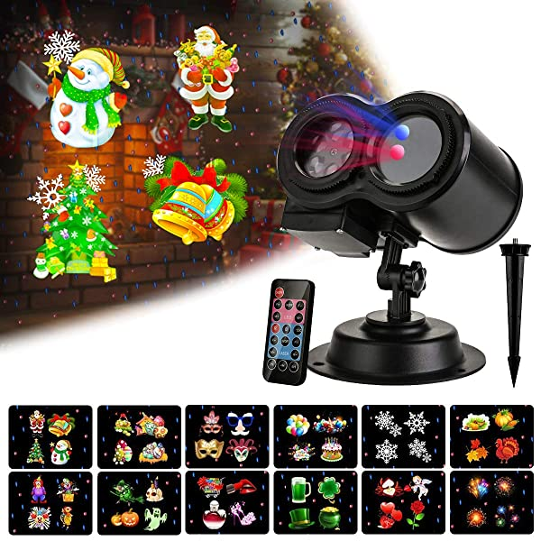SUNCOM Festival Projector Light, 2 in 1 Waterproof Laser Lights LED Projector Remote Control, Red Green & White Star Show Indoor Outdoor for Decoration on Party (Tamaño: 2 in 1 Projector Laser Light)