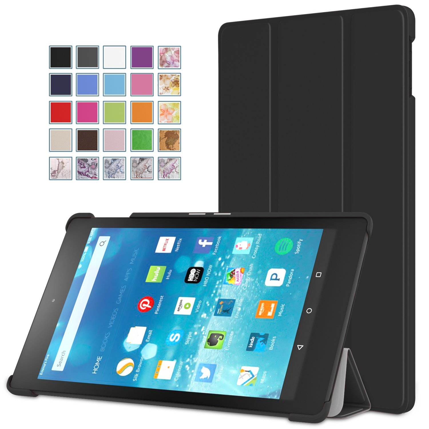 MoKo Fire HD 8 Case - Ultra Slim Lightweight Smart-shell Stand Cover with Auto Wake / Sleep for Amazon Kindle Fire HD 8 Inch Display Tablet (2015 Release Only), BLACK