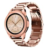 Shangpule Compatible Samsung Galaxy Watch Bands 42mm 46mm, Stainless Steel Metal Replacement Strap Bracelet Compatible Galaxy Watch SM-R810/SM-R800 Smartwatch (Rose Gold, 42mm) (Color: 42MM-Rose Gold, Tamaño: 42 mm)