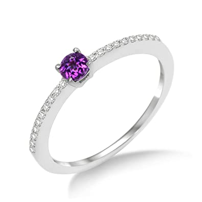 Miore MP9024RM Amethyst Ring, 9 ct White Gold, Diamond Setting