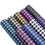 David accessories Printed Faux Leather Sheets Plaid Printed Synthetic Leather Fabric 9 Pcs 8
